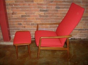 Gorgeous Danish teak high back lounge chair and ottoman - newly upholstered - designed by Sven Langkilde - Denmark - 1960's - this beauty had 2 lounge positions - $850