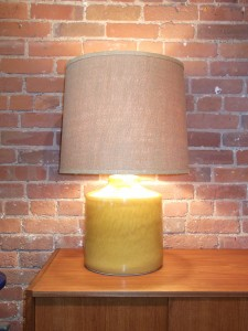 Handsome large vintage yellow Lotte lamp with burlap shade (SOLD)