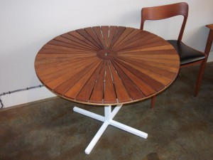 "Great teak and metal patio table made in Denmark by BKS,measures 39"" round X 26.5"" H $680"