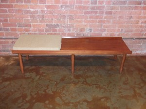 "Fantastic Mid-century modern teak bench - perfect for an entry way - Fantastic size - measures 61.5""L x 18"" D x 15.5""H $650"