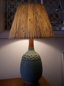 Gorgeous Mid-century modern ceramic lamp with an incredible shade and finial - $175