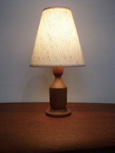 "Handsome small 1960's teak bed-side lamp with it's original shade - this beauty stands - 15.75""H - (SOLD)"