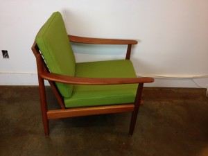 Spectacular Mid-century easy chair by Fabian - Made in Denmark - this beauty has been newly re-finished with all new foam & 100% new wool upholstery - one left - (SOLD)