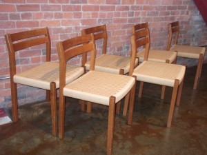 Handsome set of 6 Mid-century modern teak & cane dining chairs - (newly caned a few years ago) so excellent condition - slight curve in the wood slatted back for your dining comfort - SOLD