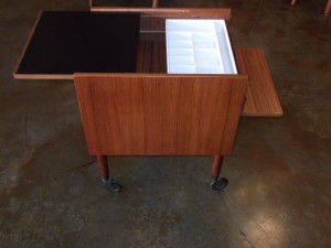 "Fantastic Mid-century modern multi-purpose cabinet/table on castors - comes with key for drawer - original purpose - sewing cart - now - endless uses -measures - 19.5""L x 15""W x 19.75""H - (SOLD)"