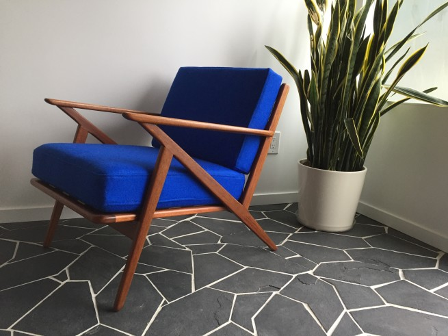 Outstanding 1960's Danish Modern teak easy chair - looks good, feels good - what more can you ask for - oh and it also has all new strapping, foam and has been re-covered in a quality wool fabric - it also boasts a recently re-finished teak frame - $1500