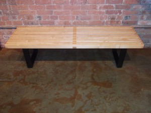 "Classic platform bench designed by George Nelson for Herman Miller-design year 1946-solid maple slats with ebonized wood base 5' L X 18.5"" D X 14"" H (SOLD)"