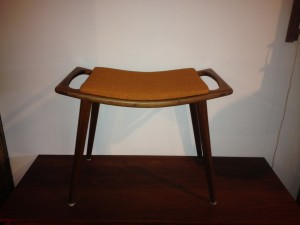"Fantastic Mid-century modern footstool - Made in Norway - retains it's original orange wood upholstery - this beauty measures - 21""W x 12""D x 16""H (SOLD)"