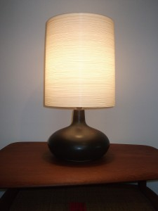 "Exceptional Mid-century ceramic lamp w/ it's original fiberglass lampshade by Lotte & Gunnar Bostlund - gorgeous rich dark brown almost black glaze with some earthy mossy green swirled in towards the neck - WOW - stands - 20""H -(SOLD)"