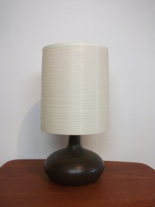 "Exceptional Mid-century ceramic lamp w/ it's original fiberglass lampshade by Lotte & Gunnar Bostlund - gorgeous rich dark brown almost black glaze with some earthy mossy green swirled in towards the neck - WOW - stands - 20""H - (SOLD)"
