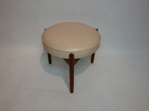 "Lovely Rare Mid-century modern 3 legged foot stool by Spottrup Mobelfabrik - Made in Denmark - this beauty measures - 18""diameter x 15""H - (SOLD)"