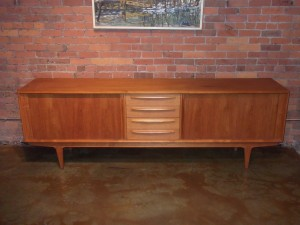 "Outstanding Mid-century modern teak sideboard by Danish maker Bernhard Pedersen & Son - superb craftsmanship - lovely features including dovetailed drawers, tambour doors and a gorgeous finished back so it can be used as a room divider - &check out the leg design - gorgeous patina -this beauty measures - 98.25""L x 20.25""D x 30.75""H - (SOLD)"