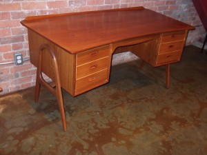 "Exceptional Mid-century modern teak desk by Architect Svend Age Madsen - Denmark - lovely curves - quality craftsmanship - open bookcase on the backside or front side (depending on your way of thinking:)) lovingly re-finished top - A RARE FIND- Danish design at it's best - 59'L x 30""D x 28.75""H (SOLD)"