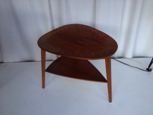 "Super unique 2 tier teak end table by Mobelintarsia Denmark - fabulous condition - perfect for small spaces - 20.5""D x 17.5""W at the widest part x 17""H - (SOLD)"