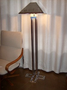 Striking Mid- century modern chrome floor lamp by Curtis Jere - signed and dated 1977 - both the base and shade - very good vintage condition - stands 63&quot;tall -(SOLD)