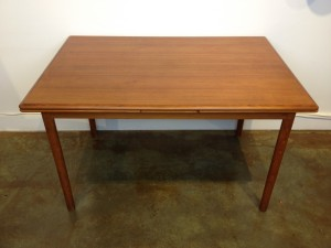 "Gorgeous Mid-century Modern teak draw leaf dining table - lovely grain pattern - newly refinished - this beauty measures - 48.5""L x 33.5""D x 28.75""H (SOLD)"