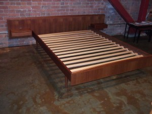 Impressive Mid-century modern teak double bed – newly refinished – all you need is your mattress and your good to go – Headboard is 96″ Wide – mattress area – 55″ x 78″ – $800