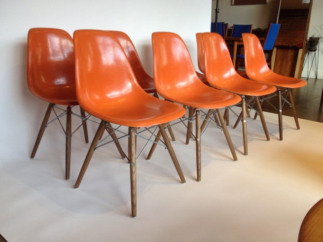 HELLO Iconic Designer Charles Eames for Herman Miller - these beauties are comprised of vintage orange fiberglass tops with new dowel bases by Modern Conscience in Seattle - so lovely and cheery :) - Set of 8 ( SOLD)