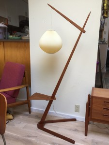 Architecturally interesting teak 1960's floor lamp with an original Le Klint shade.Local pick-up only (SOLD)