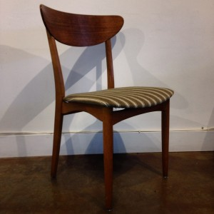 Classic Mid-century Modern dining chair with a lovely curved backrest in teak & a fabulous Oak frame with original striped Danish wool - only 1 available - $300