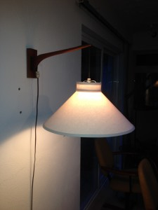 Sweet mid-century modern teak wall light with newly covered vintage shade (SOLD)