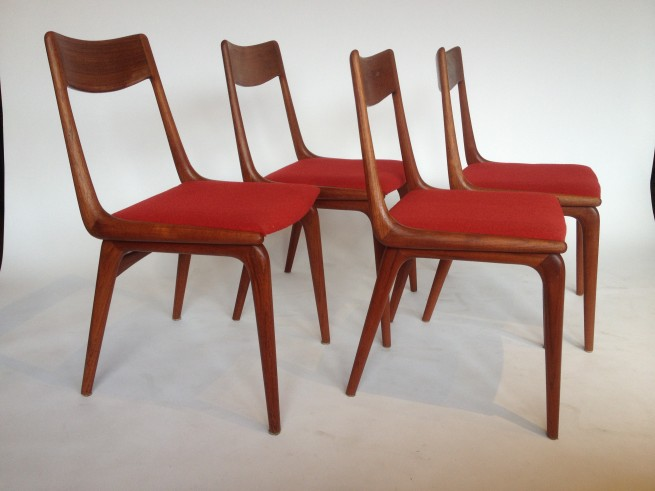 "Outstanding Set of 4 1950's ""Boomerang* Danish teak dining chairs with burnt orangey red seats - Designed by Erik Christensen for Slagelse Mobelfabrik - these beauties are in fantastic condition and are incredibly well made - investment pieces - (SOLD)"