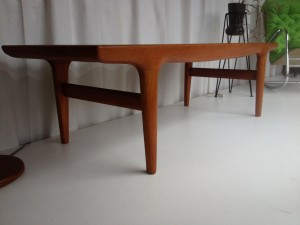 "Solid teak coffee table designed by Peter Hvidt for France and Daverkosen measures 42.5"" round X 19.5"" H $795"