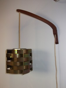 "Unique Danish Mid-century wall light - metal shade with teak adjustable arm - very good vintage condition - 16""D - (SOLD)"