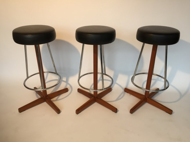 """Incredible set of 3 Swedish bar stool - circa 1960's - marked by Broderna Johansons Fatoljindustri Markaryd Sweden - these beauties swivel like a dream and are in amazing vintage condition - 31""""H x 21"""" width at base - $1500/Set"""