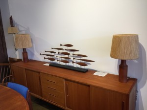 Pair of teak 1960's table lamps with unique original rope shades $550