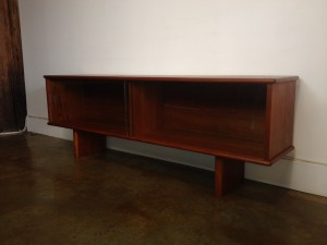 "Fabulous Functional 1960's teak hutch/ room divider/ low bookshelf or use for your fabulous Flat Screen TV - 60""L x 12""D x 21""H - (SOLD)"
