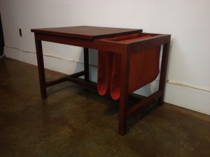 "1960's solid teak end table w/cloth magazine slots perfect for your living room & or bedside table - 28.75""W x 19""D x 29""H -(SOLD)"