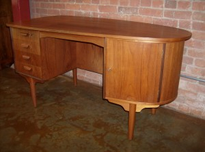 Outstanding 1960's Danish desk - by H.P. Hansen - Denmark - quality craftsmanship - solid wood dovetailed drawers - 2 doors on the front and the back that open to reveal shelves and a curved drawer - (super unique) you really have to see it!!! or ask for pics!!- check out the back in the second pic - the bookshelf and the 2nd door - a truly amazing piece - measures -