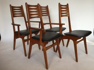 Exquisite Set Of 4 Mid Century Modern Teak Dining Chairs By Danish Company Korup Stolefabrik