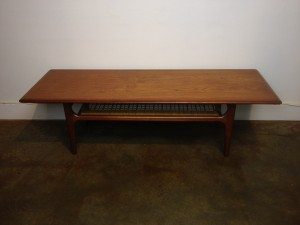 "Gorgeous 1960's 2 tier teak coffee table w/ a lovely quality woven cane 2nd tier (perfect for mags or remotes) - spectacular original patina - 59""L x 20.5""D x 17""H - $950"