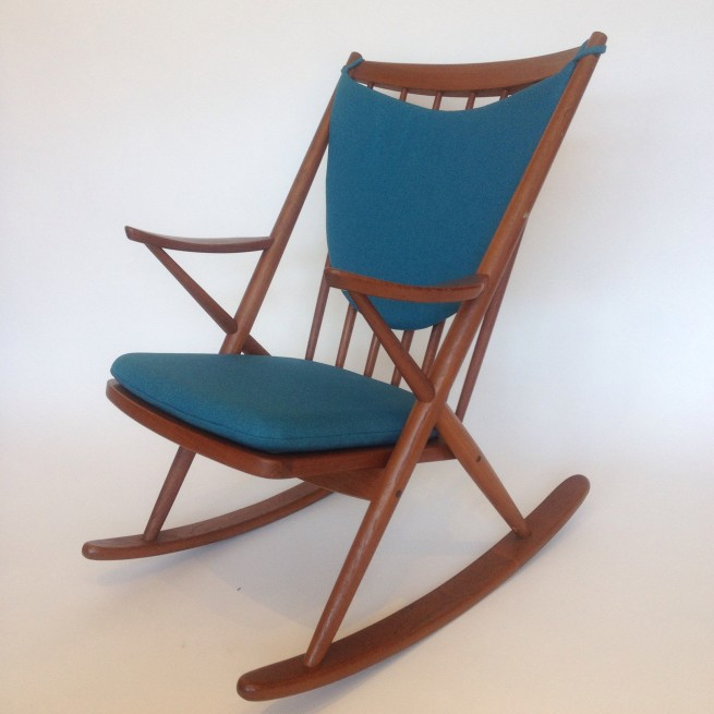 Magnificent 1950's teak rocking chair designed by Frank Reenskaug for Brahmin - Made in Denmark - newly re-finished with new foam and fabric - ridiculously comfortable - one of the best in the mid-century world - $1500