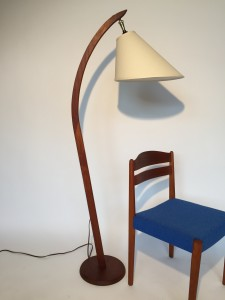 Handsome 1960's/70's teak arc floor lamp - with new custom original shade - (SOLD)