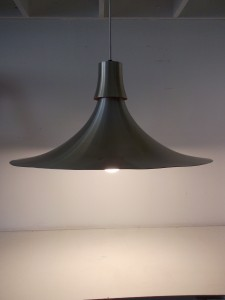 Spectacular Mid-century modern metal pendant light - incredible design - good vintage condition - measures - 24&quot; diameter x 12&quot; Height - SOLD