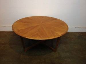 "Unique & super fabulous Vintage teak circular coffee table with a pie shape design - this beauty is in fantastic vintage condition and measures - 41""diameter x 18""H - (SOLD)"