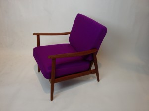 Gorgeous Mid-century modern Scandinavian teak easy chair - all new foam over original box spring cushion making for a super comfy chair & wool upholstery - (SOLD)