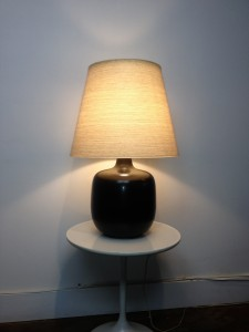 "Gorgeous 1960's ceramic lamp by Lotte & Gunnar Bostlund - fabulous charcoal grey - come with it's original fiberglass shade - stunning glow - this beauty stands - 25.25""H - (SOLD)"