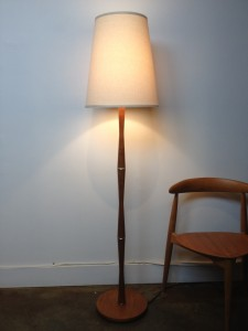 "Handsome Mid-century teak floor lamp w/ metal details - this beauty comes with a new custom linen shade - stands - 62.5""H - (SOLD)"