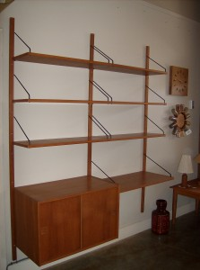 "Handsome Danish teak wall system, the lower shelf can be used as a desk - perfect for home and or office - measures - 63""W x 17.25""D x 78""H $775"