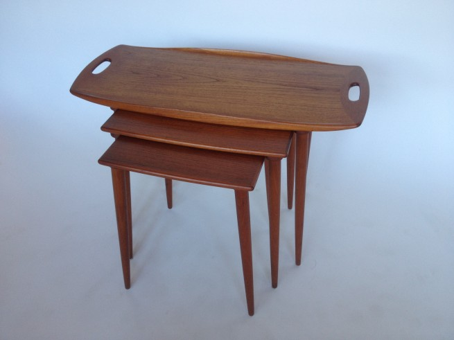 """Exquisite Sculptural Set of Danish Modern Teak Nesting Tables Designed by Jens Quistgaard for Nissen - Made in Denmark - gorgeous patina these beauties are in very good vintage condition - 31.5""""L x 15.5""""D x 20.5""""H - $800/Set"""