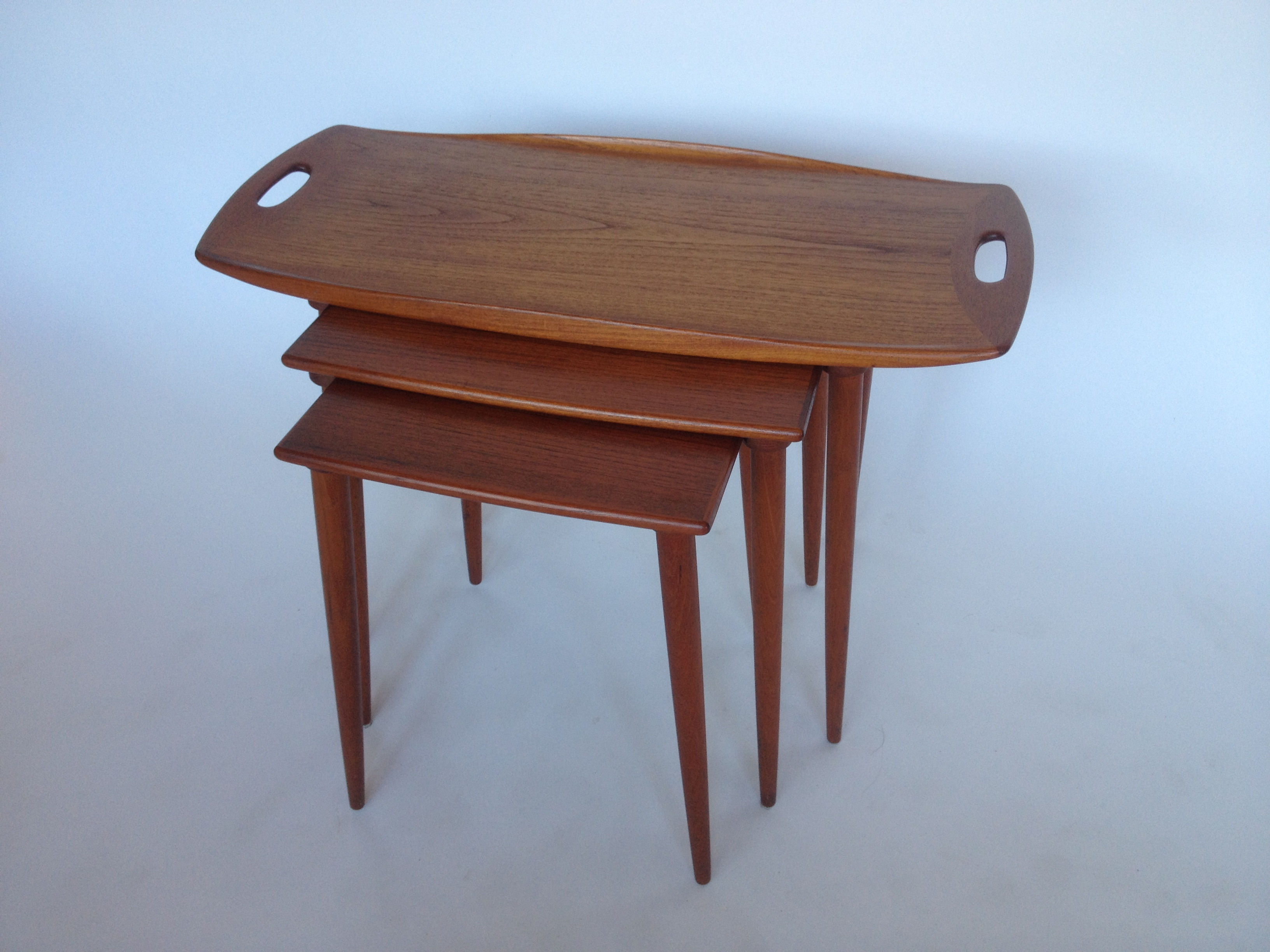 Exquisite Sculptural Set of Danish Modern Teak Nesting Tables Designed by  Jens Quistgaard for Nissen. The Fabulous Find   Mid Century Modern Furniture Showroom in