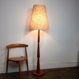 "Spectacular Mid-century modern teak turned floor lamp - incredible design - comes with the original lamp shade - stands - 62.5""H -(SOLD)"