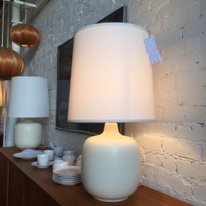 Gorgeous of Mid-century Modern ceramic lamps by husband and wife duo - Lotte and Gunnar Bostlund - Canada - these beauties come with new custom shades - $850/Pair