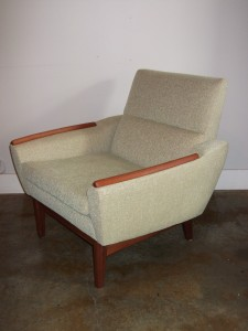 Gorgeous 1960's teak easy chair - newly upholstered with all new foam - super comfy - Gorgeous design - (SOLD)