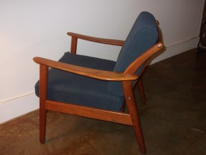Unique Mid-century Danish lounge chair - solid teak frame - brand new pirelli strapping - (best quality on the market) - $685