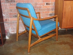 Spectacular Early Mid-century Beech lounge chair designed by husband & wife team - Tove & Edvard Kindt -Larsen- manufactured by France & Daverkosen - all original (with the spring box cushion, that is oh so comfortable ) -**note some fading on the back of the cushions - 1 CHAIR LEFT - $700 each